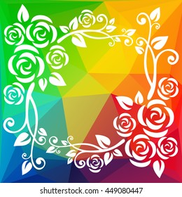 Abstract floral border on a  polygonal background.