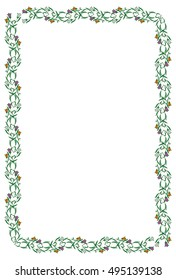 Abstract floral frame isolated on a white background. Copy space. Raster clip art.