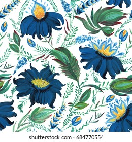 Abstract floral seamless pattern in Ukrainian folk painting style Petrykivka. Hand drawn fantasy flowers, leaves, branches isolated on a white background. Batik, page fill, album cover, textile print
