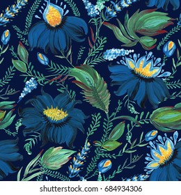Abstract floral seamless pattern in Ukrainian folk painting style Petrykivka. Hand drawn fantasy flowers, leaves, branches on a dark indigo blue background.Batik, page fill, album cover, textile print