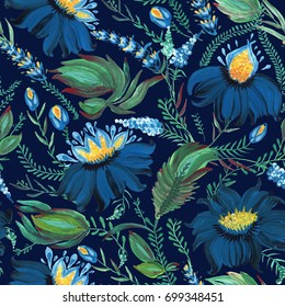 Abstract floral seamless pattern in Ukrainian folk painting style Petrykivka. Hand drawn fantasy flowers, branches on a dark indigo blue background.Batik,page fill, album cover, poster, textile print