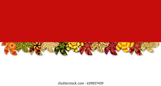 Abstract floral shapes full of apples, cherries, berries, citrus and exotic/tropical fruits, arranged as ribbon, on two-tone background: red and white