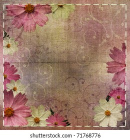 Abstract floral textured  background with daisy flower