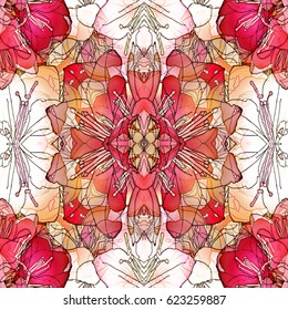 Abstract Floral Tile Design