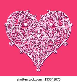 Abstract floral white lace heart on a red background - raster version
