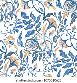 Abstract Flower. Hand Drawn Floral Pattern