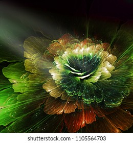 abstract flower, red, green and orange, computer generated graphic