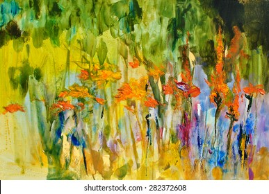 Abstract flowers. Colorful meadow. Oil on canvas
