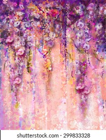 Abstract flowers watercolor painting. Spring purple flowers Wisteria with bokeh background.
