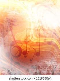Abstract flowing fire background with music notes in it