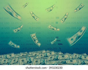 Abstract flying dollar bills with stock market chart background