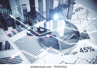 Abstract forex wallpaper. Innovation, economy, finance and trade concept. Double exposure