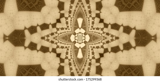 Abstract fractal background in brown color with a detailed flower-like pattern