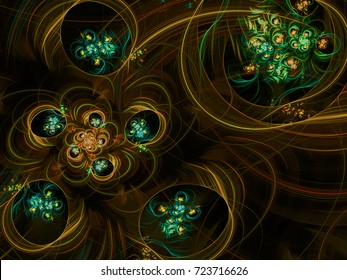Abstract fractal background Brown Flower Bubbles computer-generated image. Beautiful abstract background for wallpaper. Fractal digital artwork for creative graphic design.