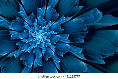 Abstract fractal background, decorative glossy cyan-blue flower