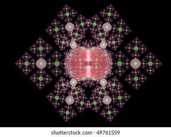 Abstract Fractal Background Design of a jewelled brooch