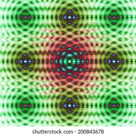 Abstract fractal background with a detailed chain-like pattern made out of dots with links interconnected in rows and columns, all in vivid green, yellow, red and cyan colors and against white color