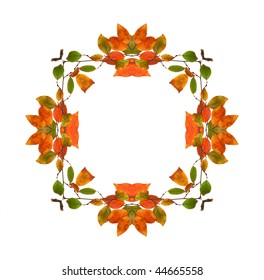 Abstract fractal background frame (made from colorful autumn leaves)