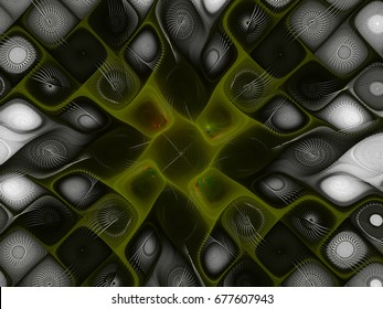 Abstract fractal background  Green Square Pattern computer-generated image. Beautiful abstract background for wallpaper, album, poster, booklet. Fractal digital artwork for creative graphic design.