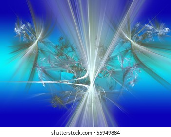 Abstract Fractal Background Light Effects on Blue