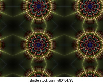 Abstract fractal background Multicolor Mandala Pattern computer-generated image. Beautiful abstract background for wallpaper, poster, booklet. Fractal digital artwork for creative graphic design.