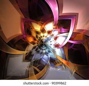 abstract fractal background on the black.