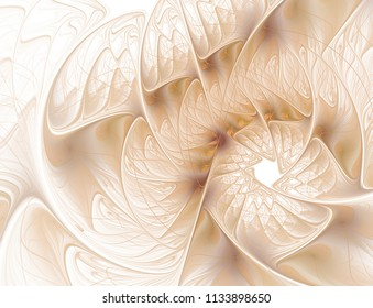 Abstract fractal beige flower on white background computer-generated