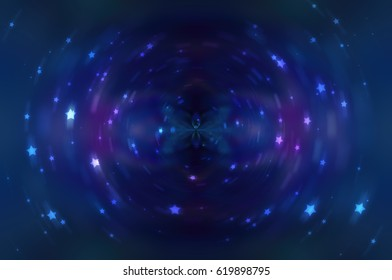 Abstract fractal blue background with crossing circles and ovals. motion illustration.