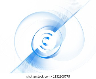 Abstract fractal blue circle and line on white background computer-generation