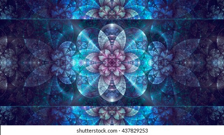 Abstract fractal, blue mosaic decorative shining flower