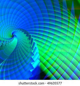 abstract fractal blue-green background with spiral structure
