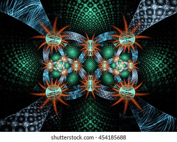 Abstract fractal fantasy pattern with stars. Fractal artwork for creative design,flyer cover, interior, poster.