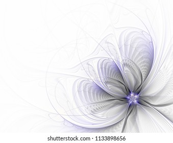 Abstract fractal flower on white background computer-generated