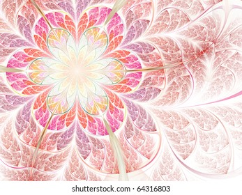 Abstract fractal flower in soft colors