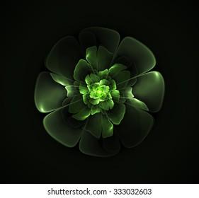 Abstract fractal green flower