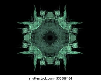 Abstract fractal with green pattern on black background