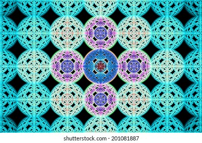 Abstract fractal grid background made out of large interconnected balls in cyan, pink and blue colors with a 3D descending pattern inside of them, all against black color