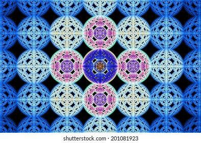 Abstract fractal grid background made out of large interconnected balls in blue, pink and purple colors with a 3D descending pattern inside of them, all against black color