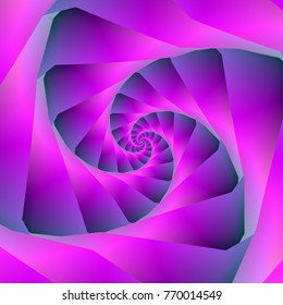 An abstract fractal image with a spiral design in pink and blue. / An abstract fractal image with a spiral tunnel design in pink and blue.