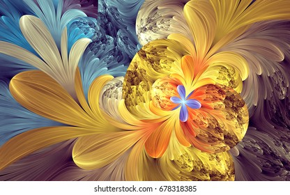 Abstract fractal patterns and shapes. Dynamic flowing natural forms. Flowers and spirals
