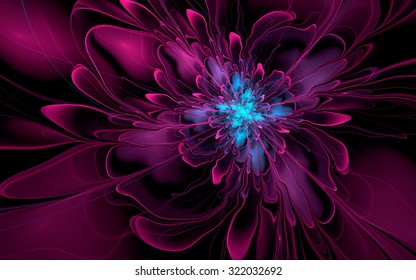 Abstract fractal, purple-cyan silky flower on black background, for desktop wallpaper or for creative graphic design.