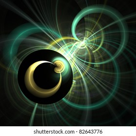 abstract fractal rendering of 2 and 3D circles