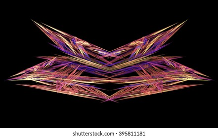 Abstract fractal shapes on black background.