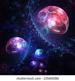 Abstract fractal: surreal luminescent sea creatures rising from the depths