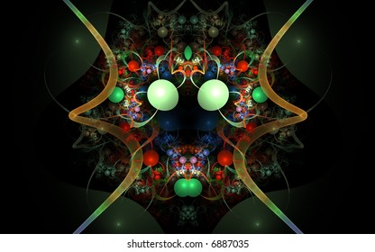 Abstract fractal with wire tubes