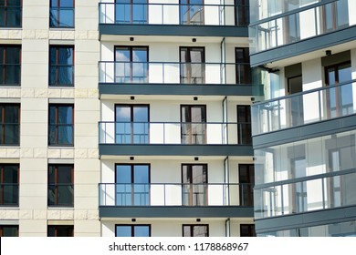 Abstract fragment of contemporary architecture. Residential modern building