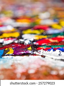 Abstract fragment of my oil painting. Oil on canvas. Bokeh. Shallow depth of field