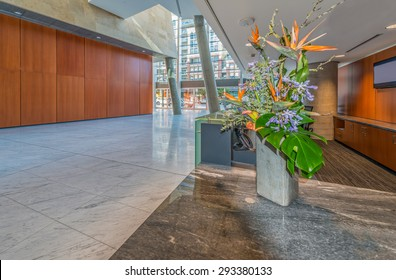 Abstract fragment of the urban architecture of modern luxury building, centre, center, hotel, shopping mall, business centre. Interior design. Vancouver, Canada.