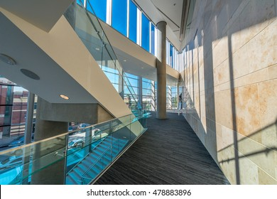 Abstract fragment of the urban architecture of modern luxury building, center, hotel, shopping mall, business center. Interior design. Vancouver, Canada.