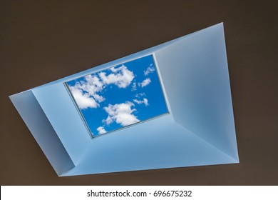 Abstract fragment of the urban architecture. Skylight window of modern luxury building, hotel, shopping mall, business center. Interior design.